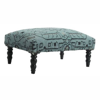 nuLOOM Light Teal Modern Overdyed Patchwork Wool Ottoman Bench
