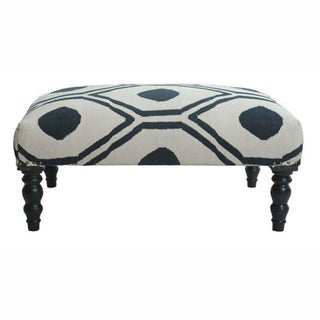nuLOOM Contemporary Blue Trellis Cotton Ottoman Bench
