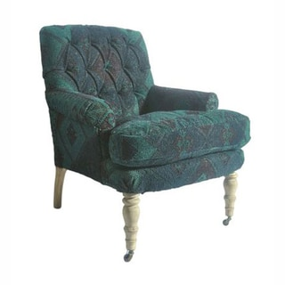 nuLOOM Overdyed Patchwork Dhurrie Kilim Green Arm Chair