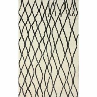nuLOOM Handmade Contemporary Moroccan Trellis Ivory Rug (5' x 8')