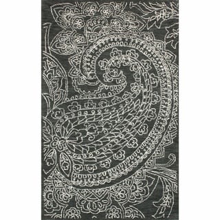 nuLOOM Handmade Contemporary Paisley Wool Grey Rug (7' 6 x 9' 6)
