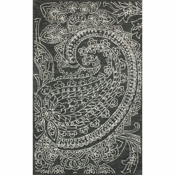 nuLOOM Handmade Contemporary Paisley Wool Grey Rug (7' 6 x 9' 6)