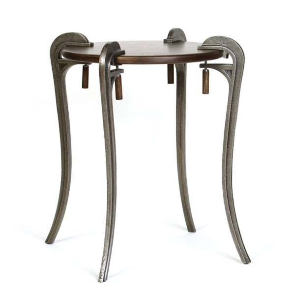 Wood Top Clamp Side Table