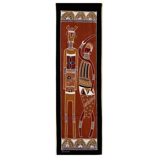 Hand-painted Brown 'African Lady and Warrior' Tapestry (Zambia)