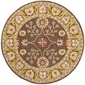 Safavieh Hand-made Anatolia Brown/ Gold Wool Rug (6' Round)