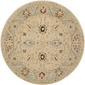 Safavieh Hand-made Anatolia Natural/ Soft Turquoise Wool Rug (6' Round)