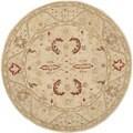 Safavieh Hand-made Anatolia Beige/ Beige Wool Rug (6' Round)