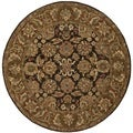 Safavieh Hand-made Anatolia Dark Brown/ Gold Wool Rug (4' Round)