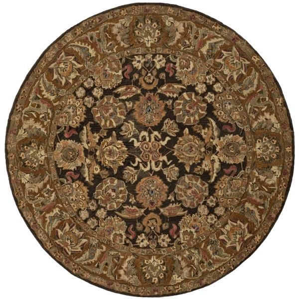 Safavieh Hand-made Anatolia Dark Brown/ Gold Wool Rug (6' Round)