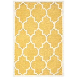 Safavieh Handmade Moroccan Cambridge Gold/ Ivory Wool Rug (3' x 5')