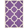 Safavieh Handmade Moroccan Cambridge Purple/ Ivory Wool Rug (3' x 5')