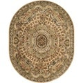 Safavieh Hand-made Classic Taupe/ Light Green Wool Rug (4'6 x 6'6 Oval)