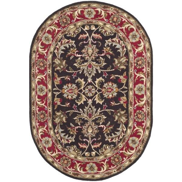 Safavieh Handmade Heritage Kerman Chocolate Brown/ Red Wool Rug (3'6 Round)