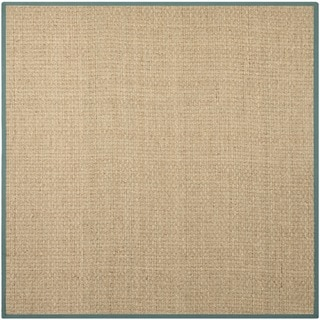Safavieh Natural Fiber Natural/ Light Blue Sisal Sea Grass Rug (8' Square)