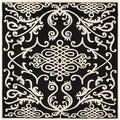 Safavieh Hand-made Soho Black/ Ivory Wool Rug (6' Square)