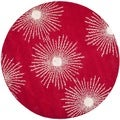 Safavieh Hand-made Soho Burst Red/ Ivory Wool Rug (6' Round)
