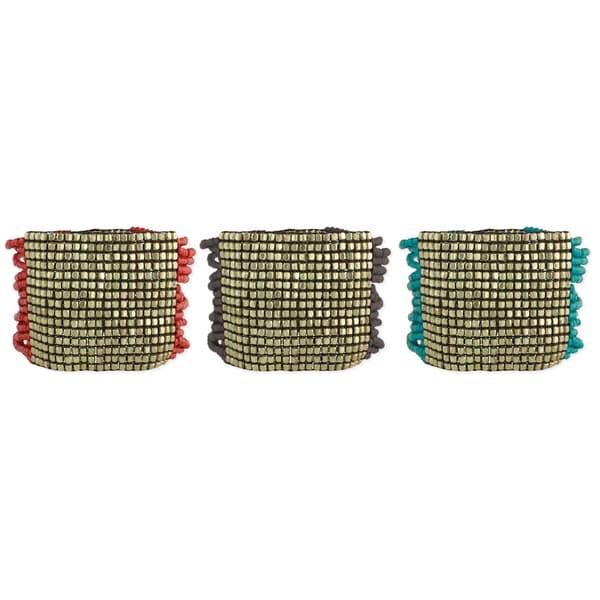 Handcrafted Wide Multistrand Goldtone Stretch Bracelet (India)