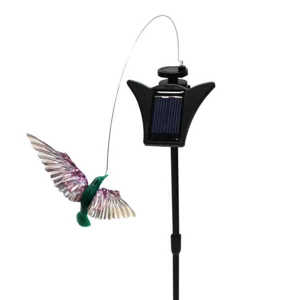 Solar Powered Dancing Turquoise Hummingbird Garden Accent