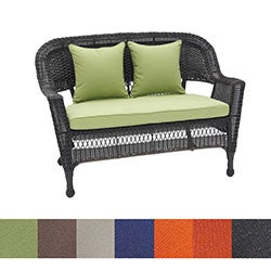 Wicker Black Finish Patio Loveseat with Cushion and Pillows