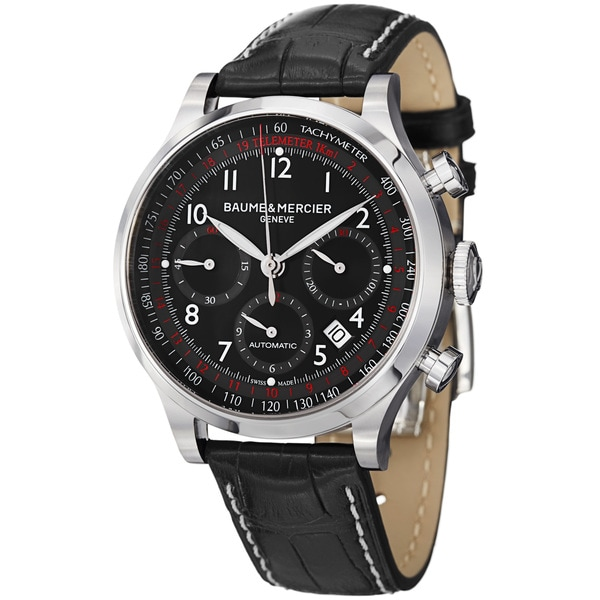 Baume & Mercier Men's MOA10084 'Capeland' Black Dial Black Leather Strap Watch