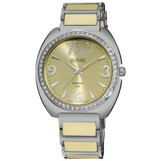 August Steiner Women's Diamonds Ceramic Link Bracelet Watch