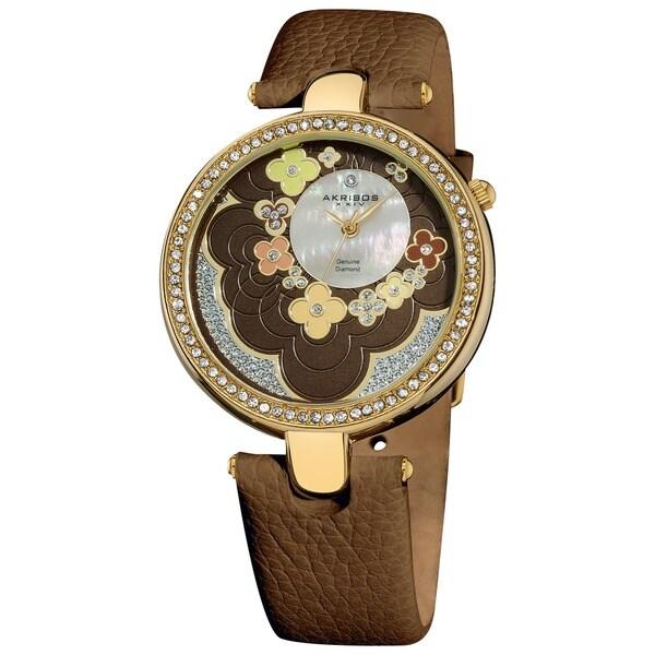 Akribos XXIV Women's Swiss Quartz Leather Brown Strap Flower Dial Watch with GIFT BOX - Green/Multi/Silver 11398291