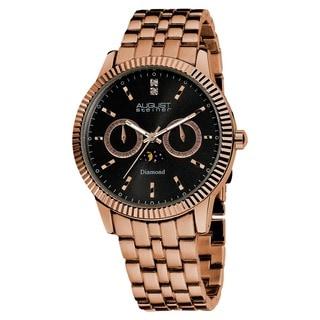 August Steiner Men's Swiss Quartz Multifunction Diamond Bracelet Watch