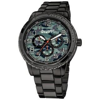 August Steiner Men's Quartz Multifunction Black Bracelet Watch