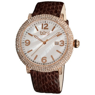 Burgi Women's Swiss Quartz MOP Dial Genuine Brown-leather Strap Watch