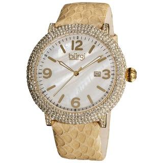 Burgi Women's Swiss Quartz MOP Dial Genuine Leather Strap Watch