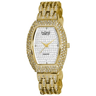 Burgi Women's Tonneau Diamond Crystal Quartz Watch