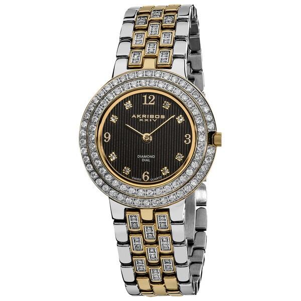 Akribos XXIV Women's Swiss Quartz Diamond Stainless Steel Screw-down Bracelet Watch