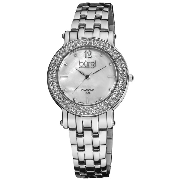 Burgi Women's Diamond Mother of Pearl Dial Water-resistant Stainless Steel Silver-Tone Bracelet Watch