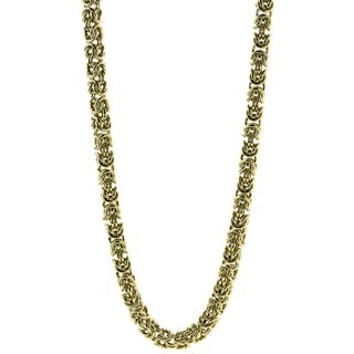 Gold Ion-plated Stainless Steel Men's 7-mm Byzantine Link Necklace
