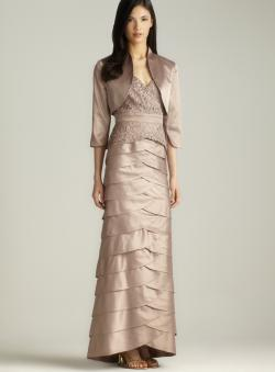 Adrianna Papell Lace Tiered Charmeuse Dress With Jacket