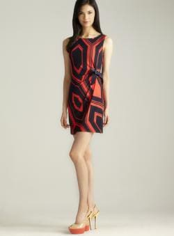 MSK Geometric Print Side Tie Dress