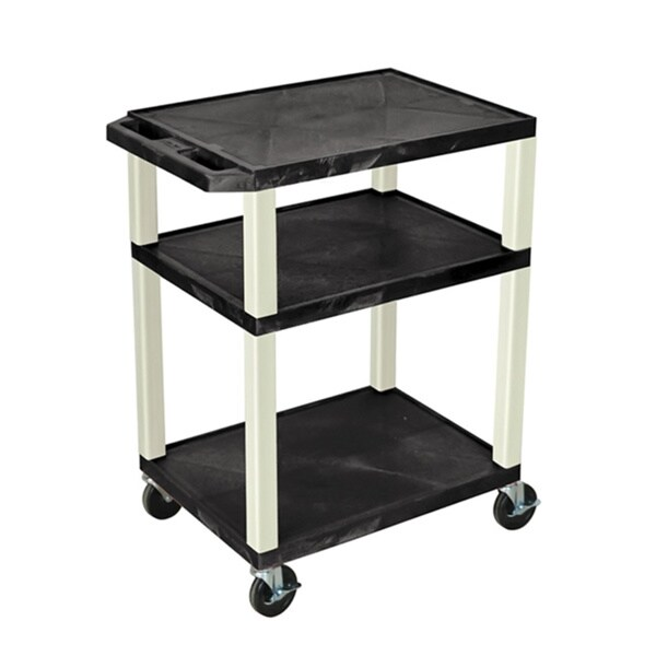 Mobile Black Multi-Purpose 3 Shelf Tuffy AV Cart with Putty Legs, Electric/ Heavy Duty Casters