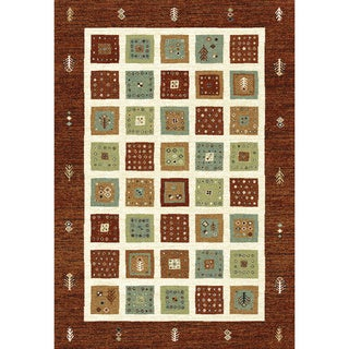 Eternity Quilt Red/ Beige Area Rug (7'10 x 11'2)