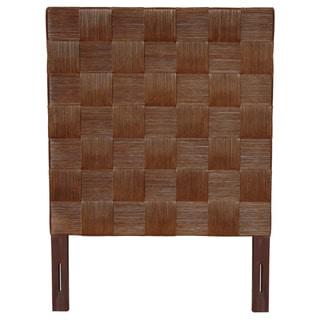 Meticulously Woven Brown Geometric Square Twin Headboard