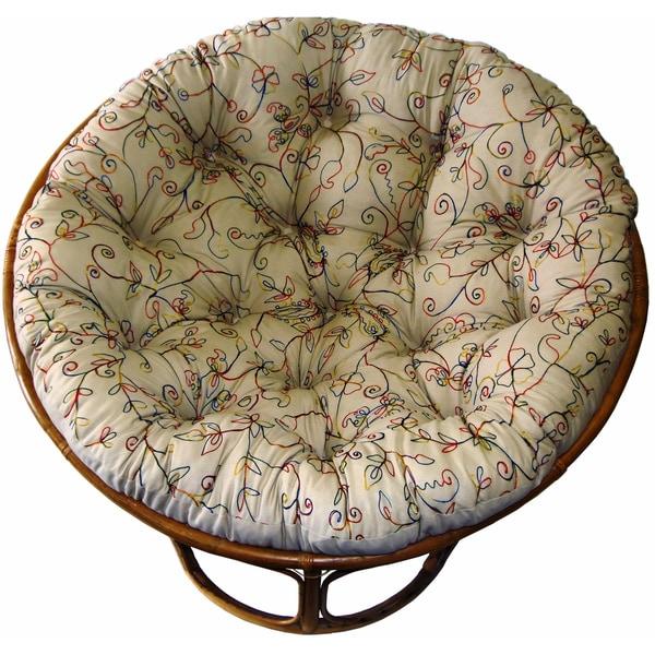 Celebration Papasan Embroidered Crewel Natural Chair