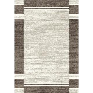 Eternity Bordered Silver/ Black Rug (5'3 x 7'7)