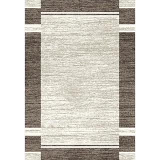 Eternity Bordered Silver/ Black Rug (5'3 x 7'7)