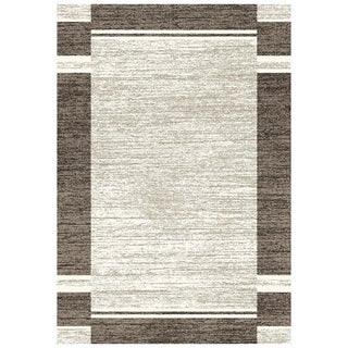 Eternity Bordered Silver/ Black Rug (6'7 x 9'6)