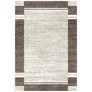 Eternity Bordered Silver/ Black Rug (6'7 x 9'6)