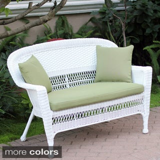 White Wicker Loveseat With Cushion and Pillows