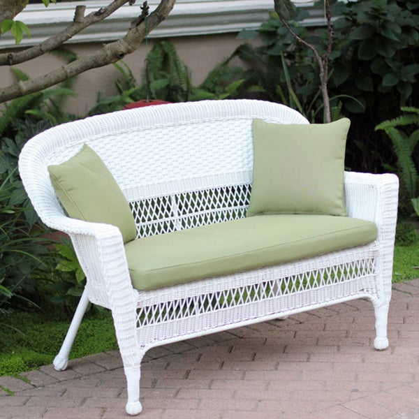 White Wicker Loveseat With Cushion And Pillows 15506221