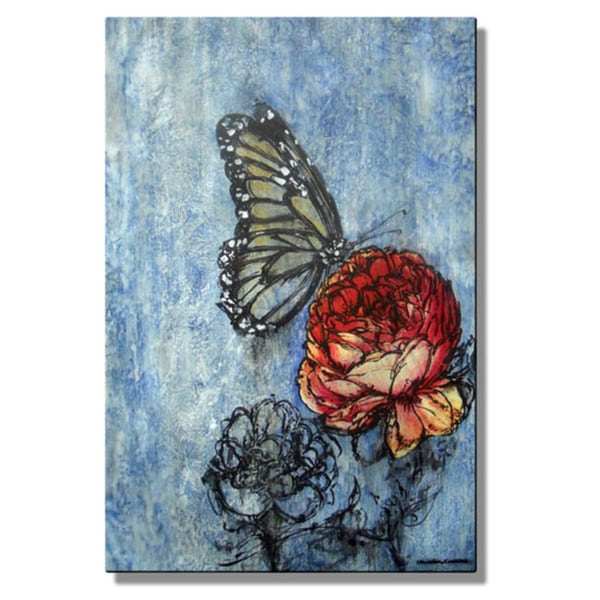 Christina Loraine 'Monarch Visits the Garden' Metal Wall Art