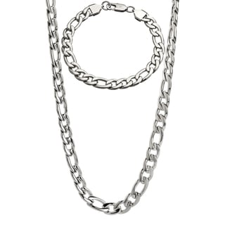 Stainless Steel Men's 9-mm Figaro Chain Jewelry Set