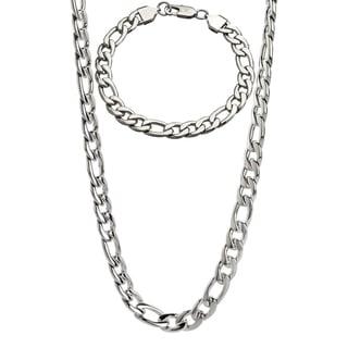Stainless Steel Men's 9-mm Figaro Chain Jewelry Set
