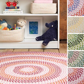 Cake Walk Multicolored Braided Rug (3' x 5' Oval)